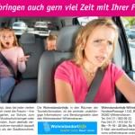 Postkarte/Plakat zur Darstellung des hohen Zeitaufwands für das Autofahren von Umlandbewohnern